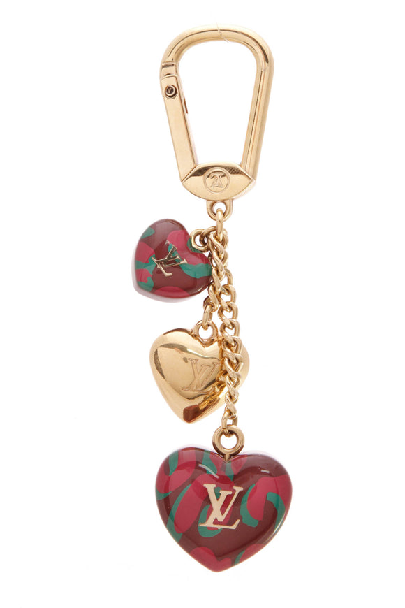 Louis Vuitton Leopard Heart Bag Charm Rouge Fauviste Purple