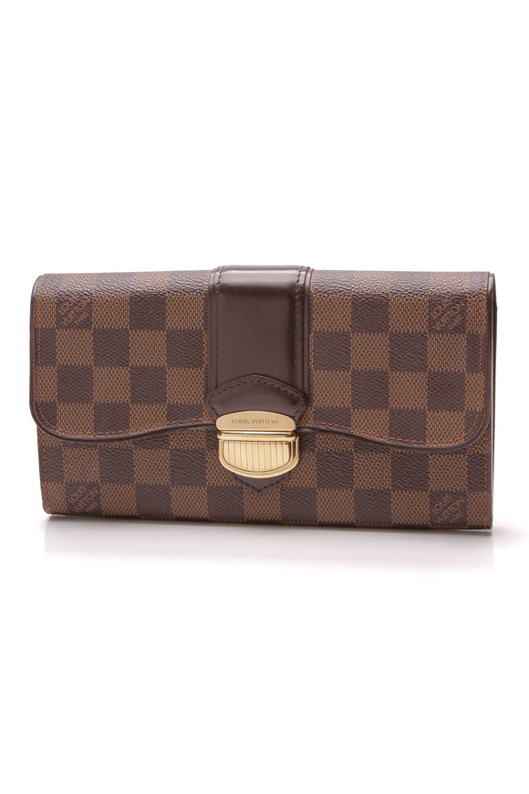 Louis Vuitton Sistina Wallet Damier Ebene Brown