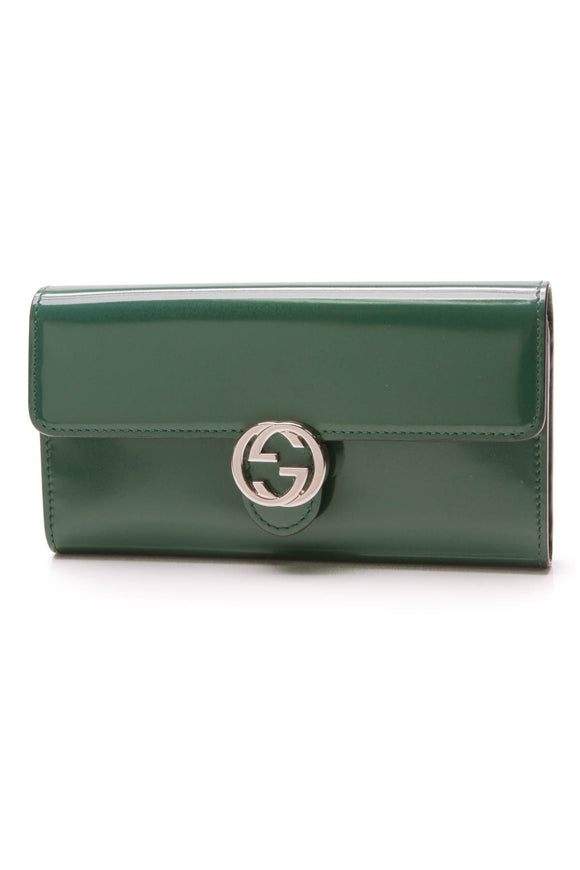 Gucci Icon Continental Wallet Turtle Green Patent
