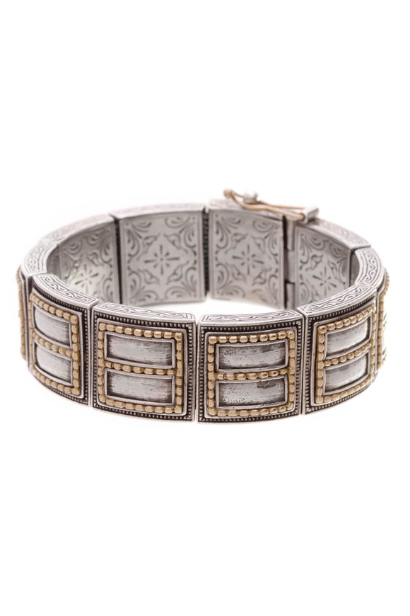 Konstantino Rectangle Cuff Bracelet Silver Gold