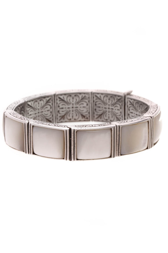 Konstantino Mother of Pearl Cuff Bracelet Silver