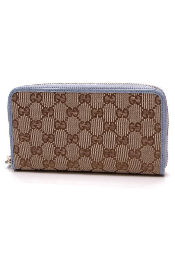 Gucci Zip Around Wallet Signature Canvas Blue