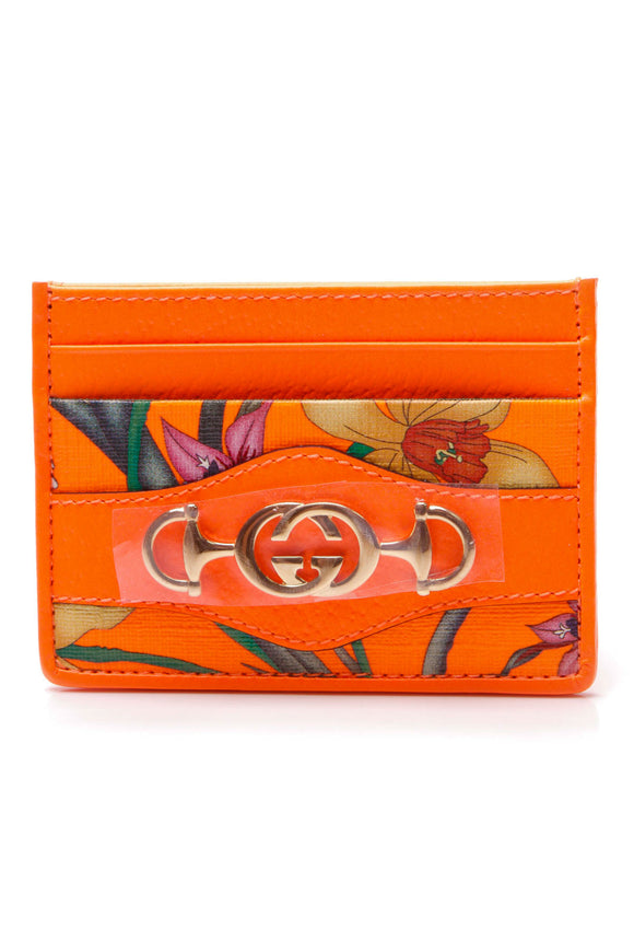 Gucci Zumi Flora Card Case Neon Orange