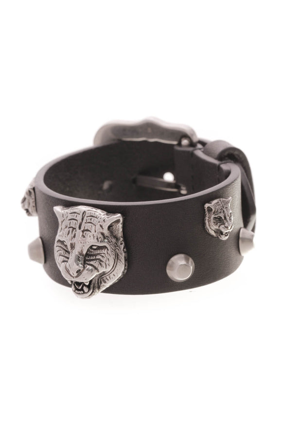 Gucci Feline Head Studded Cuff Bracelet Black