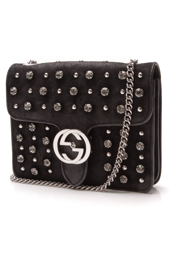 Gucci Studded Crystal Interlocking G Bag Black