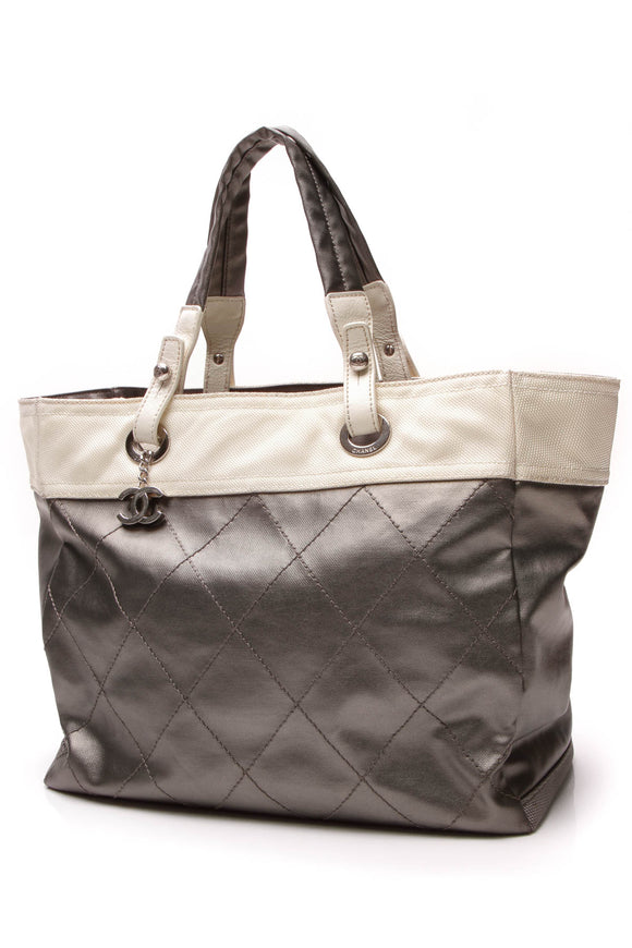 Chanel Paris-Biarritz Medium Grand Shopping Tote Bag Gray