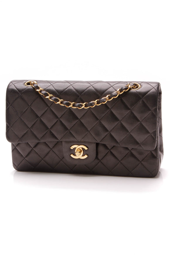 Chanel Vintage Classic Double Flap Bag Medium Black Lambskin