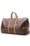 Louis Vuitton Vintage Keepall 55 Travel Bag Monogram Brown