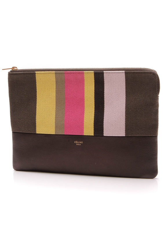 Celine Solo Striped Pouch Black Multicolor