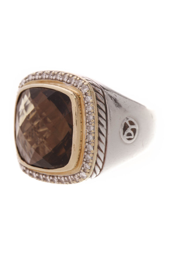 David Yurman 14mm Diamond Smoky Quartz Albion Ring Silver Size 7