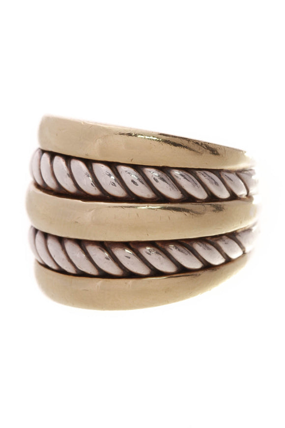 David Yurman Wide Cable Ring Silver Gold Size 7