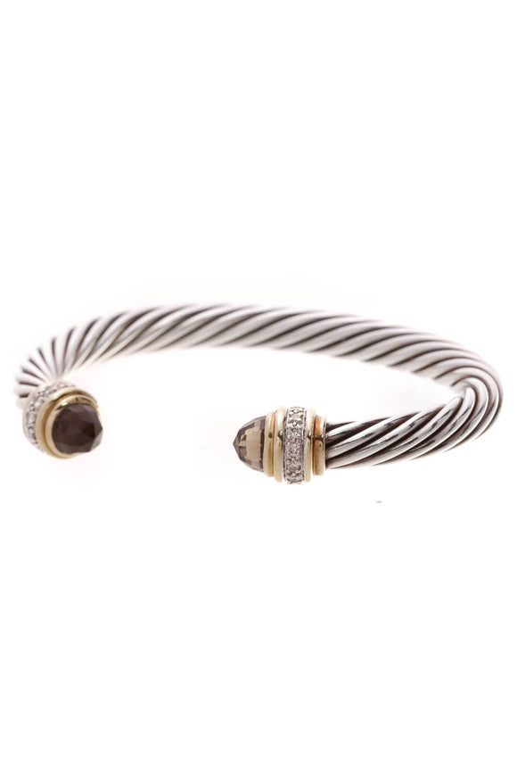David Yurman 7mm Diamond Smoky Quartz Cable Bracelet Silver Gold