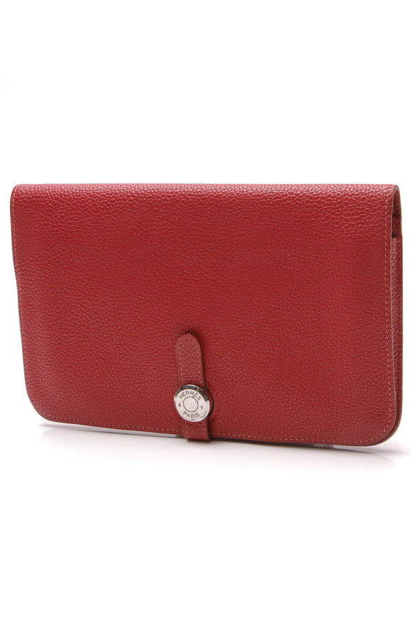 Hermes Dogon Duo Large Wallet Red Togo