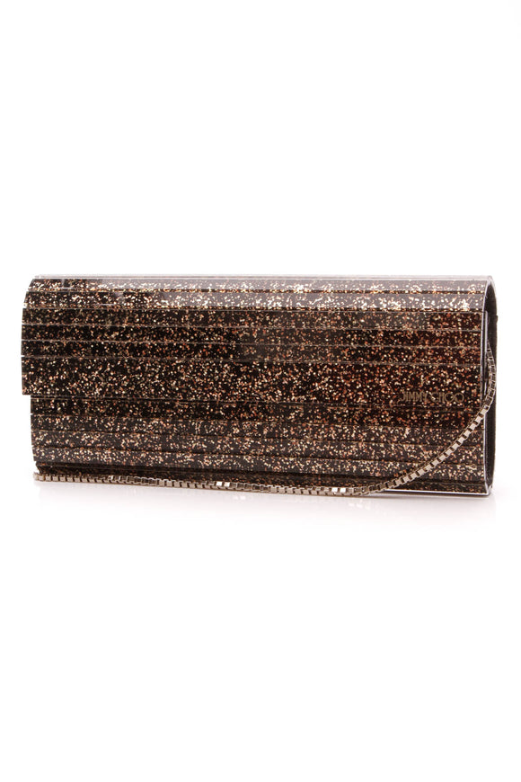 Jimmy Choo Sweetie Glitter Clutch Bag Black Gold
