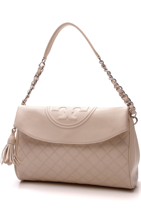 Tory Burch Fleming Fold-Over Hobo Bag Cream