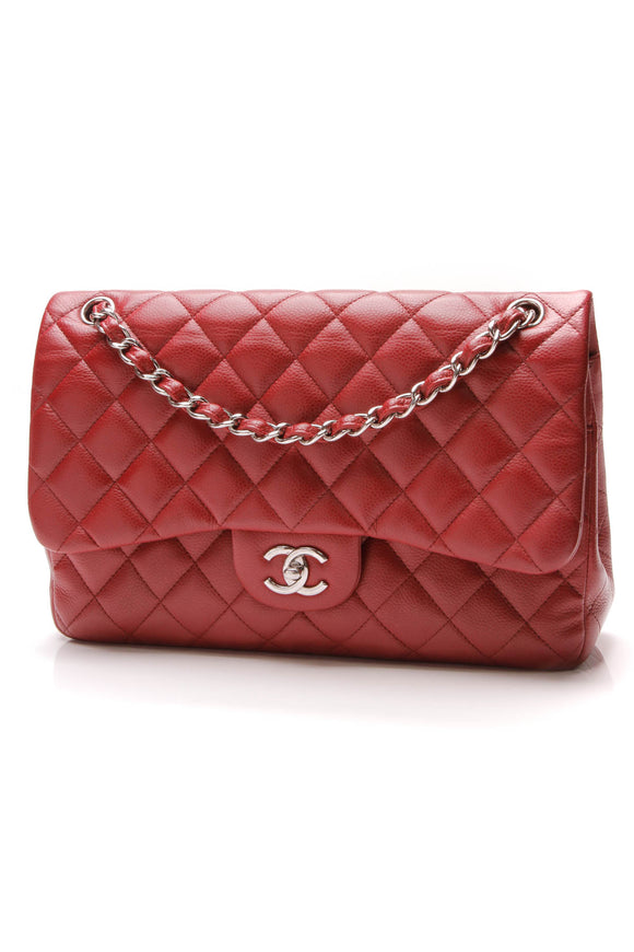 Chanel Classic Double Flap Bag Jumbo Red Caviar