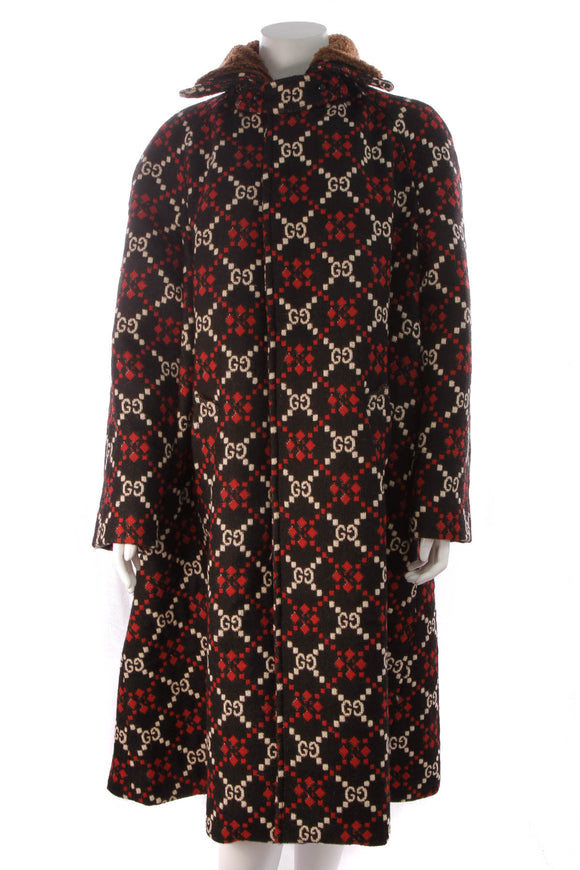 Gucci Long Diamond Cape Coat Black Red Size 40