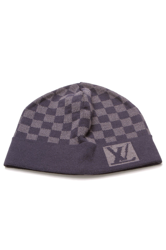 Louis Vuitton Damier Knit Beanie Hat Blue Gray