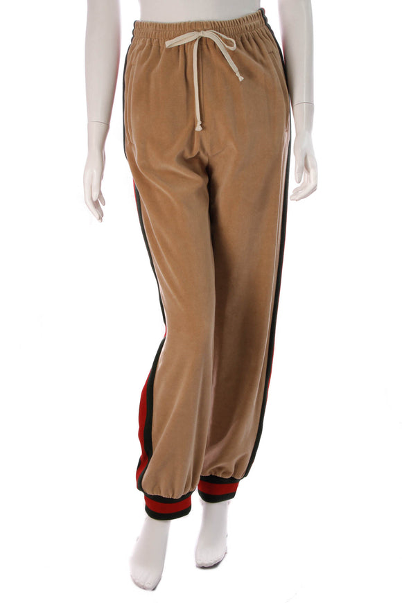 Gucci Dapper Dan Velour Jogger Pants Taupe Size Extra Small