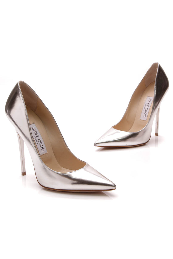 Jimmy Choo Anouk Mirror Pumps Silver Size 36.5