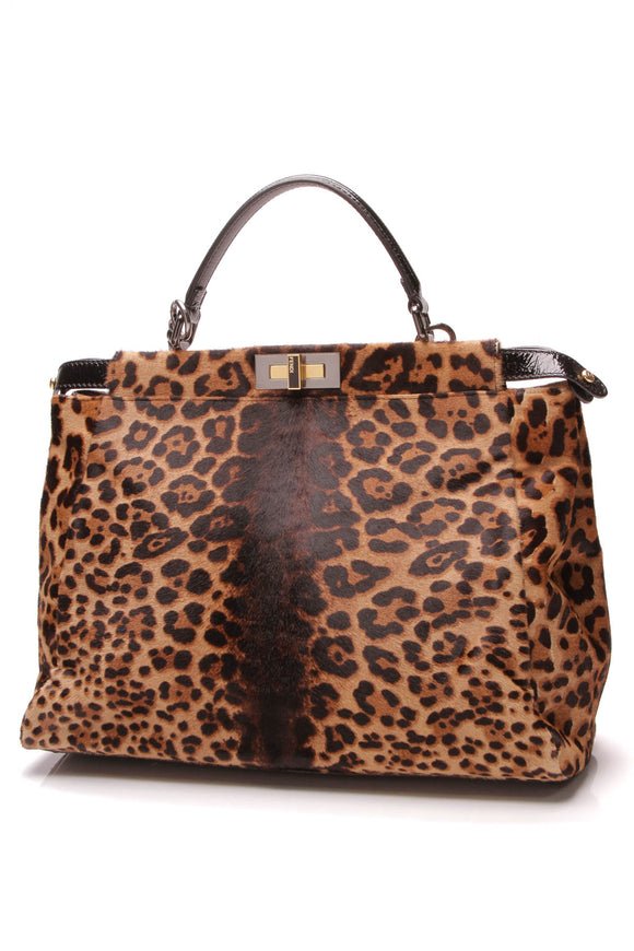 Fendi Leopard Print Large Peekaboo Bag Black Brown