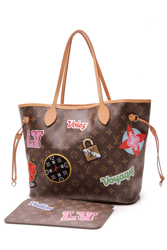 Louis Vuitton Patches Neverfull MM Tote Bag Monogram Brown