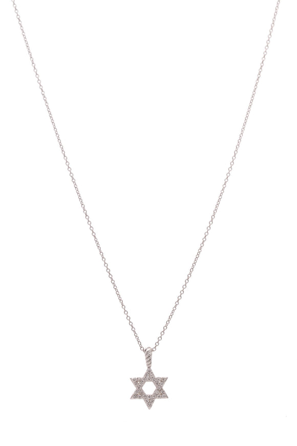David Yurman Diamond Star Of David Necklace White Gold