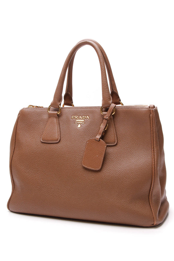 Prada Vitello Daino Double Zip Tote Bag Caramel