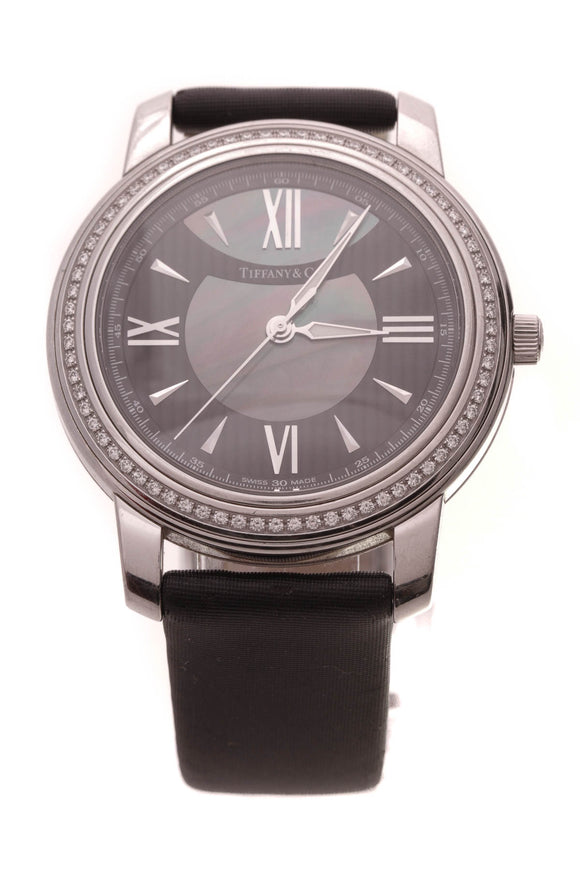 Tiffany & Co. Diamond Mark Watch Steel Nylon Black