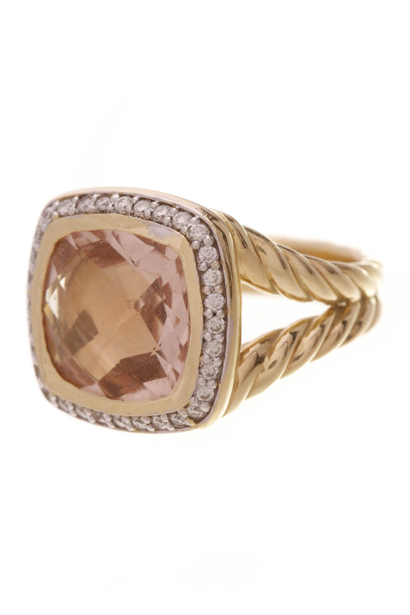 David Yurman Diamond & Morganite 11mm Albion Ring Yellow Gold Size 6