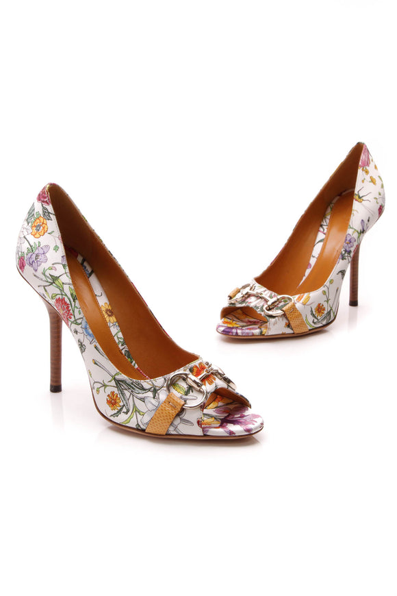 Gucci Karung Horsebit Flora Pumps White Size 8