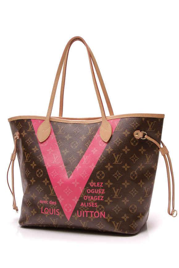 Louis Vuitton V Neverfull MM Tote Bag Monogram Pink