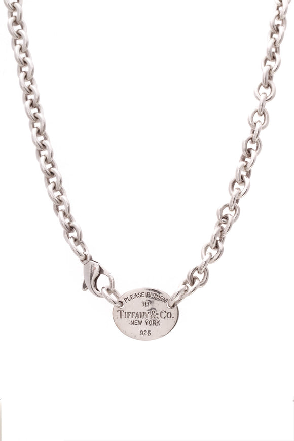 Tiffany & Co. Return to Tiffany Oval Tag Necklace Silver