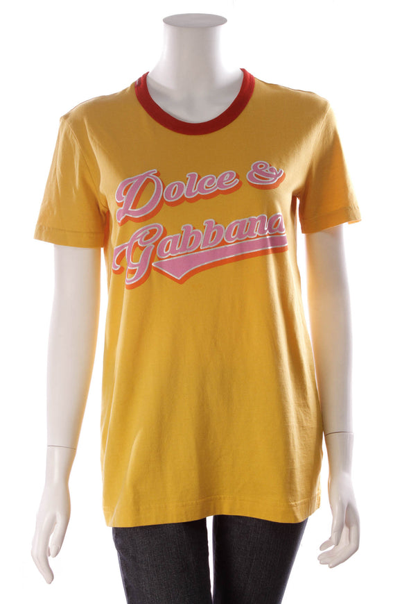 Dolce and Gabbana Logo T-Shirt Yellow Size 40