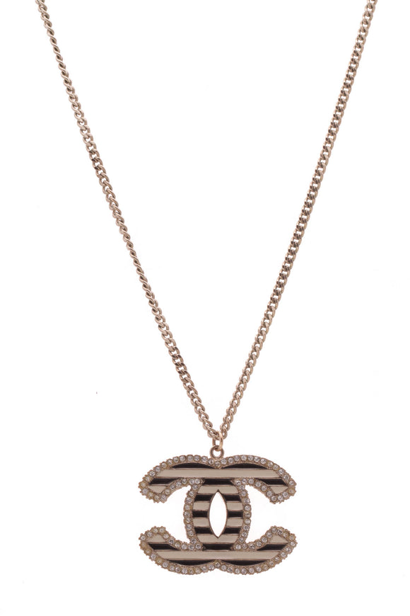 Chanel Crystal & Enamel Striped CC Pendant Necklace Gold