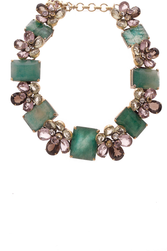 Iradj Moini Floral Choker Necklace Gold Green