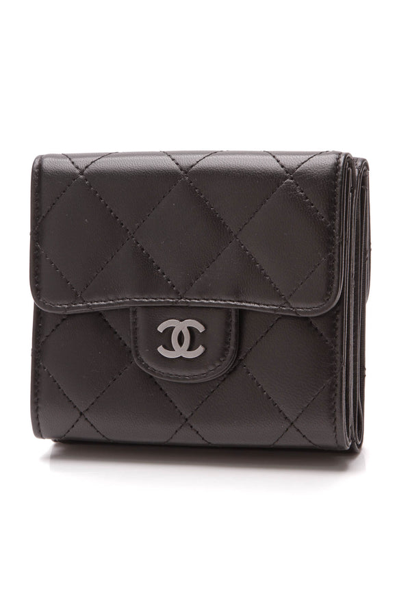 Chanel Quilted Classic Double-Sided Wallet Black Lambskin