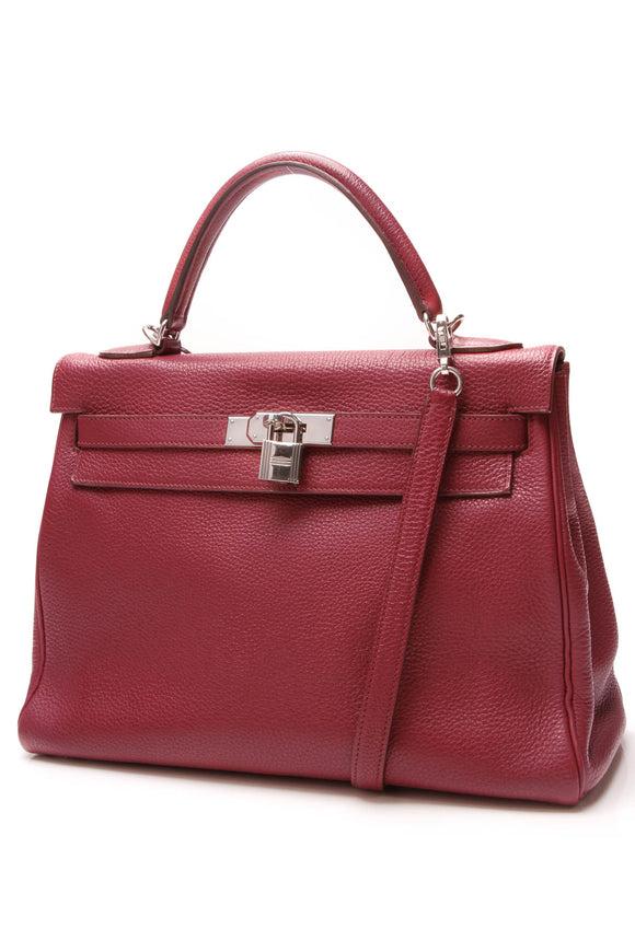 Hermes Kelly Retourne 32 Bag Burgundy Togo Leather