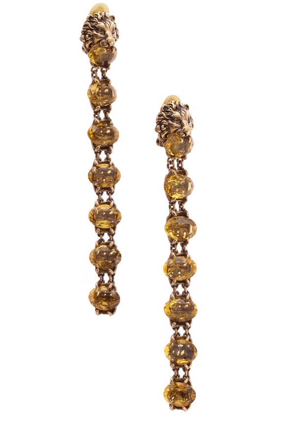 Gucci Crystal Lion Head Clip-On Drop Earrings Aged Gold