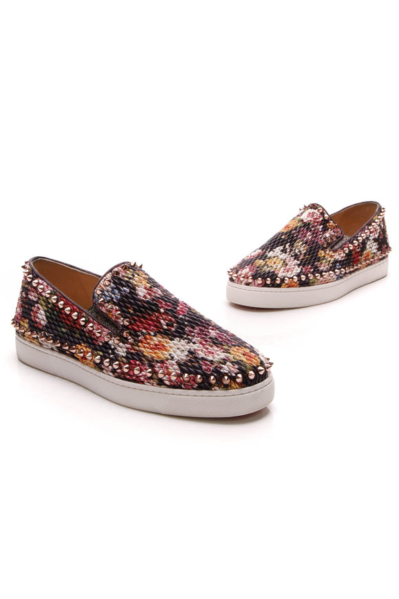 Christian Louboutin Pik Boat Floral Slip-On Sneakers Multicolor Size 39.5