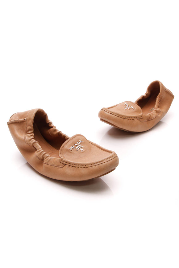 Prada Driving Loafers Tan