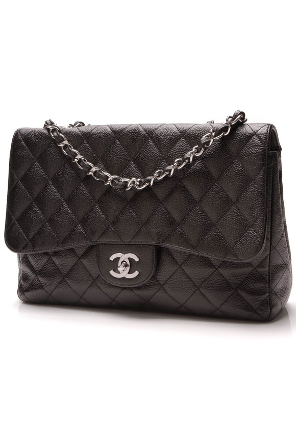 Chanel Classic Single Flap Bag Jumbo Black Caviar