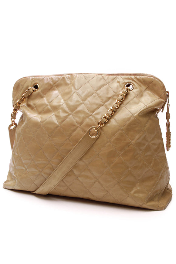 Chanel Vintage Quilted Tote Bag Tan Vinyl