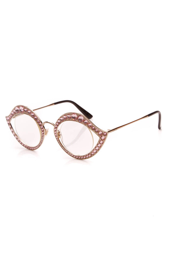 Gucci Crystal Cat Eye Glasses GG0046S Gold Pink