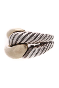 David Yurman Cable Single Hoop Ring Silver Gold Size 7.5