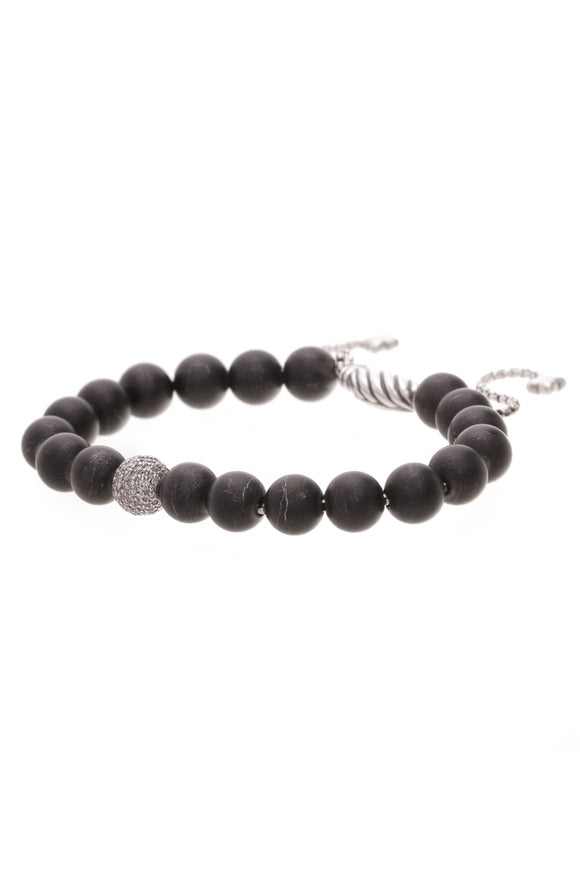 David Yurman Black Onyx & Diamond Spiritual Beads Bracelet Silver