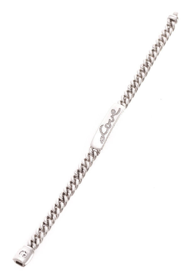 David Yurman Petite Pave Diamond Love ID Bracelet Silver