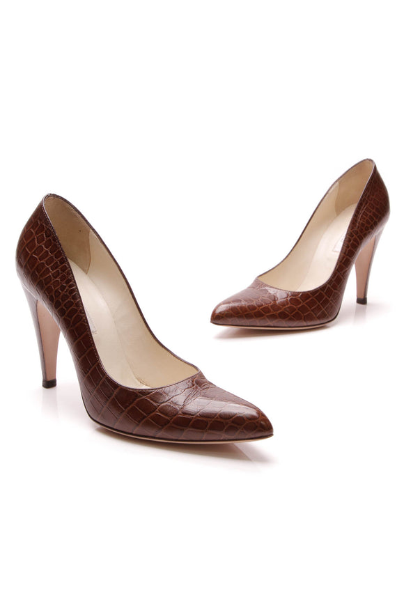 Prada Embossed Crocodile Classic Pumps Brown Size 37