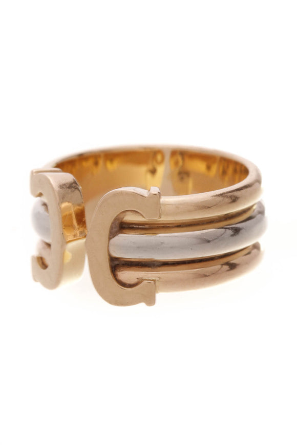Cartier Double C Ring Tri-Color Gold Size 6.25