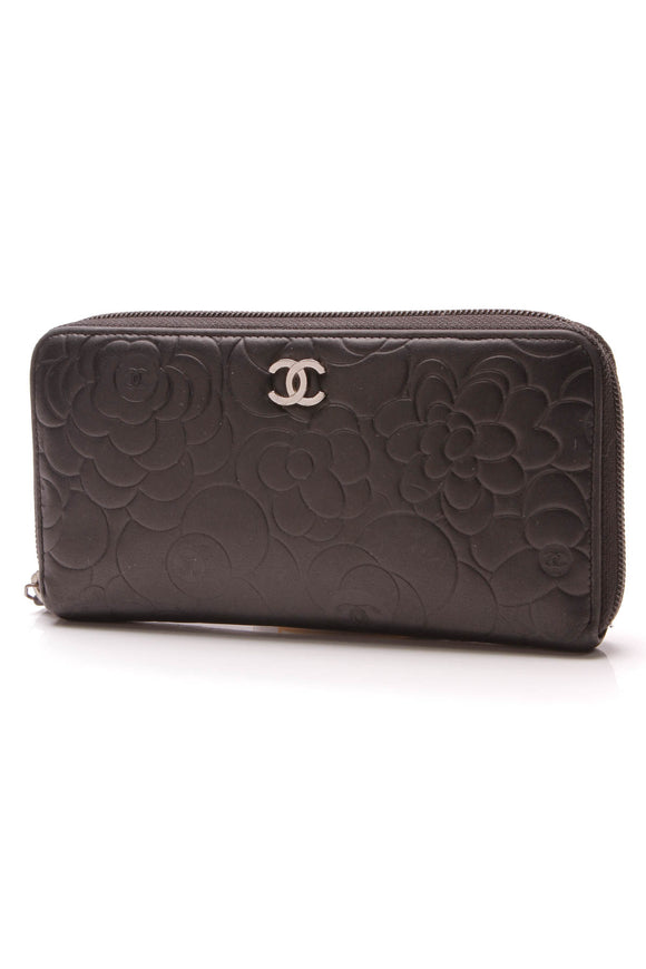 Chanel Camelia Embossed Zippy Wallet Black Lambskin